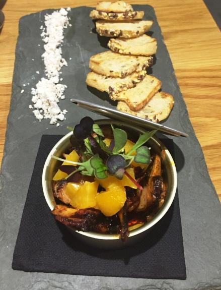 Pericana con pulpo nísperos y turrón Restaurante Brel El Campello
